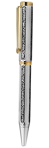 Xezo Legionnaire 18-Karat Gold, Platinum Plated Twist-Action Medium Point Ballpoint Pen. Diamond-Cut Engraved. Finely Hand-Etched. Individually Numbered. A Unique Gift (Legionnaire 500 B) by Xezo (Image #1)