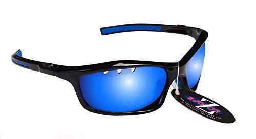 RayZor Professional léger de sport noir UV400Lunettes de soleil de pêche, avec un objectif Miroir Bleu aérés en iridium anti-reflets