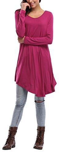 Rosa Manicotto Rossa Partire Vestito Sportiva 1x Allentato M 6 Donna In Caringgarden Vestito Lungo Formato Maglietta Colori Alta wFanqE