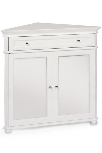 Hampton Bay 32u0026quot;w Corner Cabinet With Two Wood Doors, WOOD DOORS, WHITE