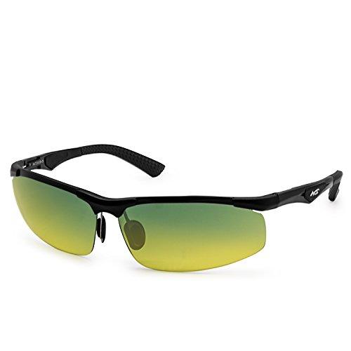 AMZTM Semi-rimless Goggles Day Night Reducing Glare Driving Glasses Polarized Sunglasses For Men (Black Al-Mg Frame Gradient Dark Blue and Yellow Lens, - Blue Dark Gradient