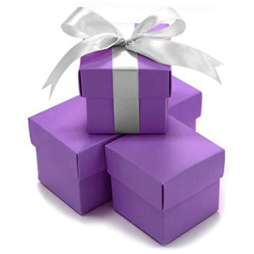 Koyal Wholesale 2-Piece 10-Pack Square Favor Boxes, Royal Purple