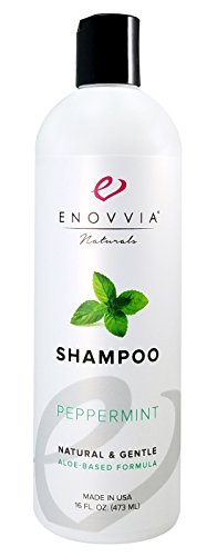 Enovvia Sulfate-Free Natural Peppermint Shampoo with Argan Oil & Aloe Vera, Lightly Scented with 100% Pure Essential Oil, SLS-Free, 16 Ounce Bottle (Peppermint Scented Shampoo)
