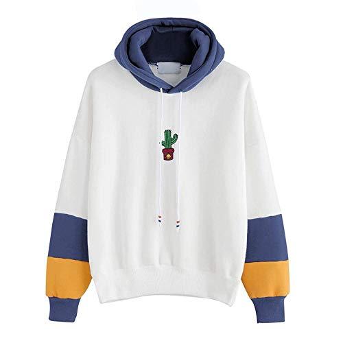 (HGWXX7 Women Hoodie Sweatshirt Cactus Print Long Sleeve Tops Blouse Hooded Pullover(L,Blue))