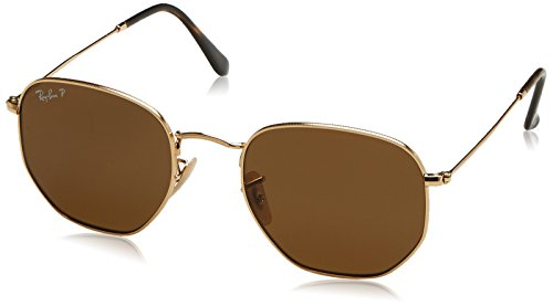 Ray-Ban Men's Metal Man Polarized Square Sunglasses, Gold, 54 - Ban Ray Hexagonal