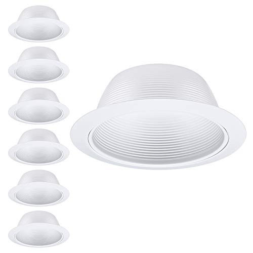 Halo Recessed Cans - 6 Pack 6 Inch Recessed Can Light Trim with White Metal Step Baffle, for 6 inch Recessed Can, Detachable Iron Ring Included, Fit Halo/Juno Remodel Recessed Housing, Line Voltage Available