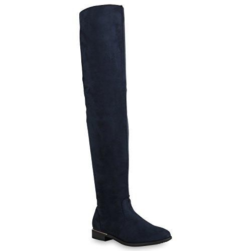 Stiefelparadies Damen Stiefel Overknees mit Blockabsatz Gefüttert Flandell Dunkelblau