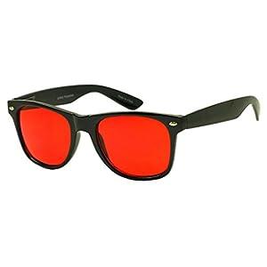 SunglassUP Colorful Classic 80's Vintage Pantone Lens Wayfarer Sunglasses (Black, Red)