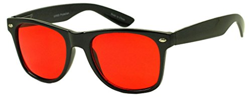 SunglassUP Colorful Classic 80's Vintage Red Pantone Lens Sunglasses (Black, Red)