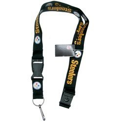 (NFL Pittsburgh Steelers Team Color Lanyard, 22-inches, Black)