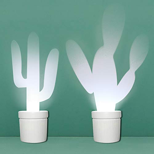 (MJ PREMIER Wall Sconce Cactus Wall Lamp Ceramic Flower Pot Shape LED Light Reflect Different Patterns Battery Operated Lighting Fixture with Timer for Festive Holiday Indoor Outdoor Home Decor (White))