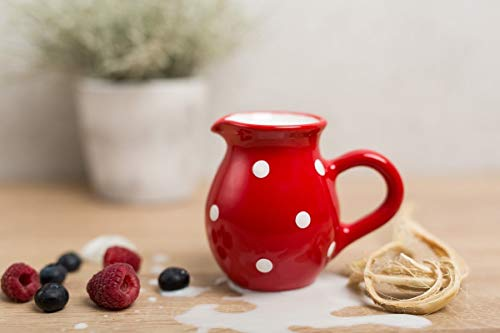 - City to Cottage Handmade Red and White Polka Dot Ceramic Creamer, Milk Jug, Pourer, Pitcher Jug, Pottery Housewarming Gift for Tea Coffee Lovers
