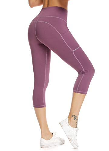 (Olacia Womens High Waisted with Pockets Yoga Pants Workout Leggings Athletic Capris Tummy Control Running Pants,Light Purple,Medium)