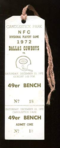1972 NFC Division Playoff Ticket Bench Pass Cowboys v 49ers Candlestick 46548