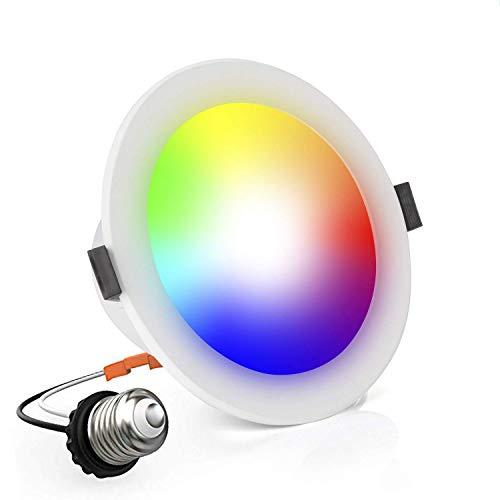 Lighting Color Change (OYOCO LED Smart Retrofit Recessed Downlight Lighting Color Changing and Dimmable 10W(100 Watt Equivalent)4-Inch Works with Amazon Alexa and Google Assistant (Adjustable 16 Million Colors))