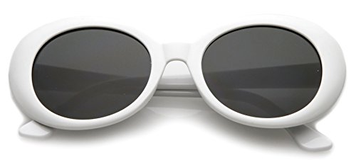 My Shades - White Oval Round Sunglasses Thick Bold Retro Clout Goggles (White, Smoke)