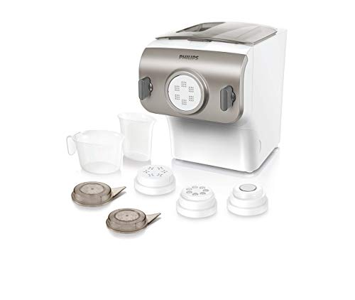 Philips Pasta and Noodle Maker with 4 Interchangeable Pasta Shape Plates- HR2357/08 (Renewed)