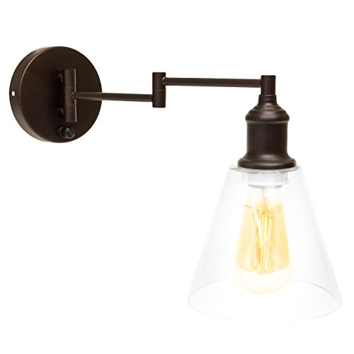 Swinging Wall Lamp (Best Choice Products Single Light Industrial Wall Sconce Plug-In or Hardwire w/ 6FT cord (Dark Bronze))