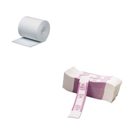 KITPMC05215PMC55032 - Value Kit - Pm Company Single-Ply Thermal Cash Register/POS Rolls (PMC05215) and Pm Company Color-Coded Kraft Currency Straps (PMC55032)