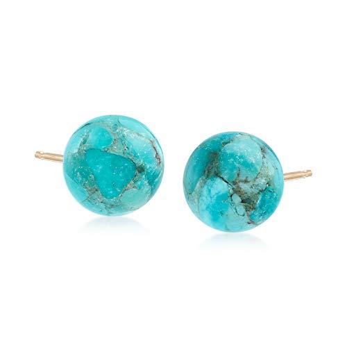 (Ross-Simons Turquoise Bead Stud Earrings in 14kt Yellow Gold)