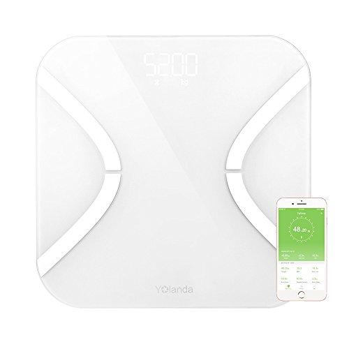 -[ Fat Scale , AnGeer Bathroom Scale Digital Body Fat Analyzer Bluetooth Sync Body Data  ]-