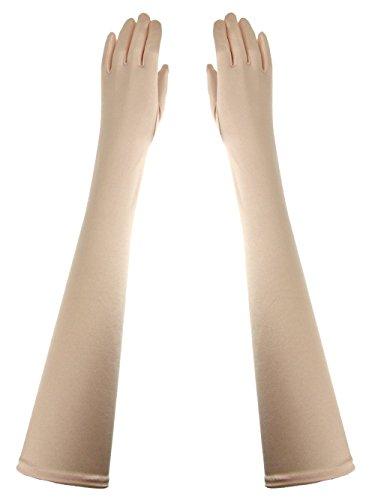 Opera Length Formal 23-Inch Stretchy Shinny Satin Dress Gloves Light Pink (Glove Dive Stretch)