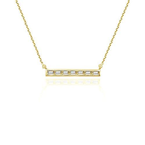 Genevieve Collection 14k Gold Line Shape with Rectangle Diamond Necklace (0.20 ct.), 45cm (Yellow, Gold) ()