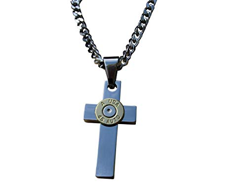 Heavy Duty Stainless Steel Cross Necklace with Brass 45 Caliber Bullet on Curb Chain. N-377 (Caliber Steel Stainless 45)