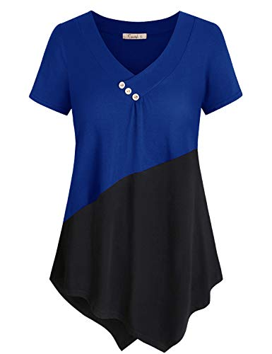 - Cyanstyle Women's Button V Neck Short Sleeve Color Block Shirt Tunic Blouse Top (Royal Blue, Large)
