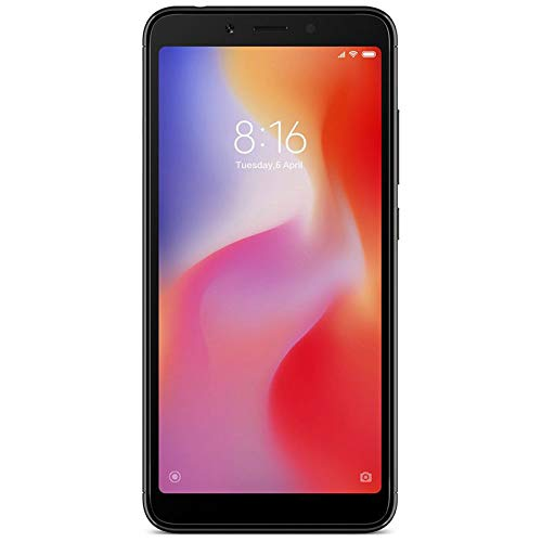 Xiaomi Redmi 6-64GB + 4GB RAM, Dual Camera, Dual SIM GSM Factory Unlocked Smartphone – International Global 4G LTE Version – No Warranty (Black)