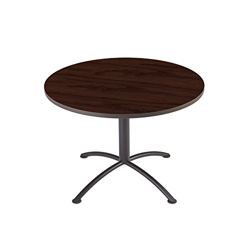 "Iceberg 69738 iLand Meeting/Conferencing Table, Edgeband, 42"" Round, 29"" Height, Mahogany, Charcoal Base"
