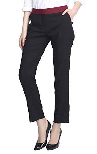 Urban CoCo Women's Casual Office Slim Fit Straight Leg Trouser Pants (M, Black)
