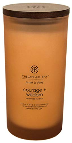 Chesapeake Bay Candle Scented Candle, Courage + Wisdom (Teakwood Incense), Large (Candle Mahogany Scented)