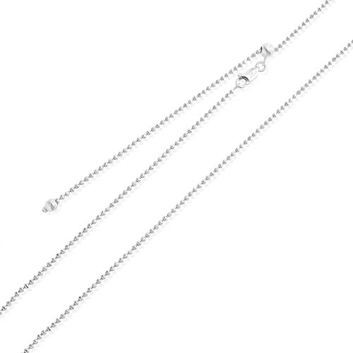 Sea of Ice Sterling Silver 1mm Round Ball Bead Chain Adjustable Necklace for Women, Size 22