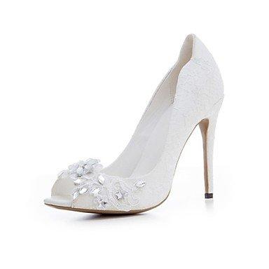 RTRY Sandalias Mujer Novedad Flor Chica Zapatos Lace Materiales Personalizados Verano Boda Vestido De Noche &Amp; Flor De Strass Stiletto Talón Us9.5-10 Blanco / Ue41 / Reino Unido /7.5-8 Cn42 US8 / EU39 / UK6 / CN39