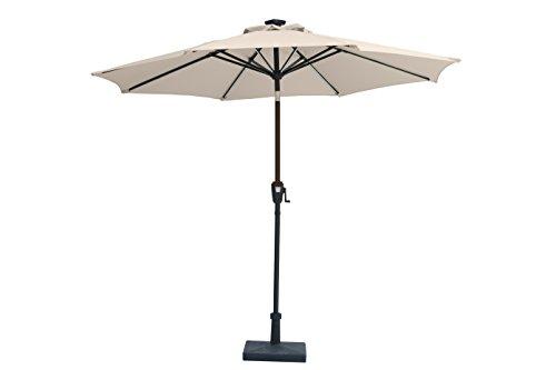 "Jardin du Sud"" 9 Feet Premium Solar Powered LED Stripe Patio Umbrella with Auto Tilt and Crank"
