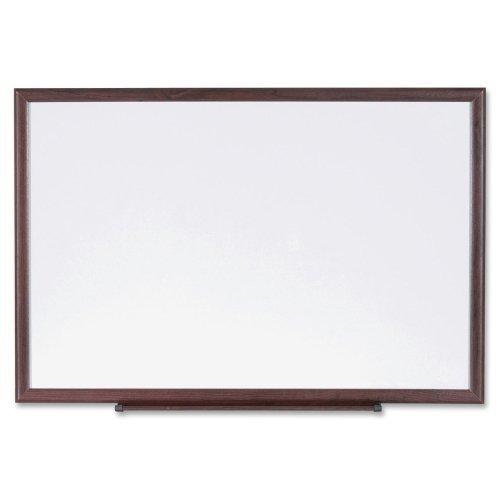 Lorell 84167 Dry-Erase Board, Wood Frame, 3'x2', Brown/White