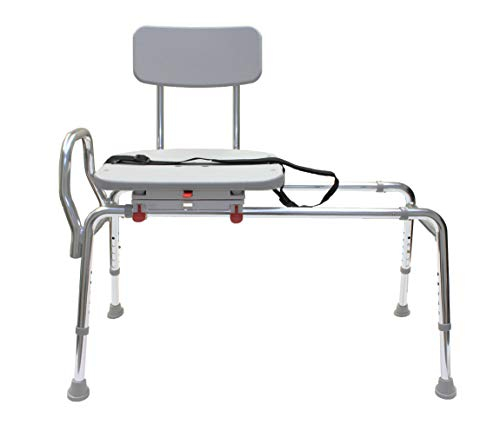 Eagle Health Supplies - Swivel Sliding Bath Transfer Bench (77662) - Regular (Base Length: 39 - 40) - Heavy-Duty Shower Bathtub Chair