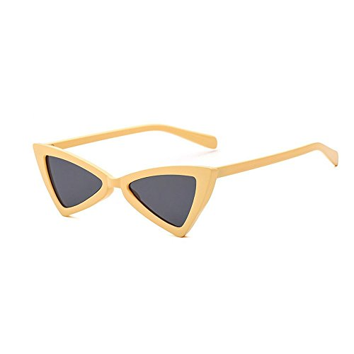 MINCL/Retro High-Point Small Frame Tinted Colored Bowknot Triangle Lens Cat Eye Sunglasses - Face Triangle Glasses