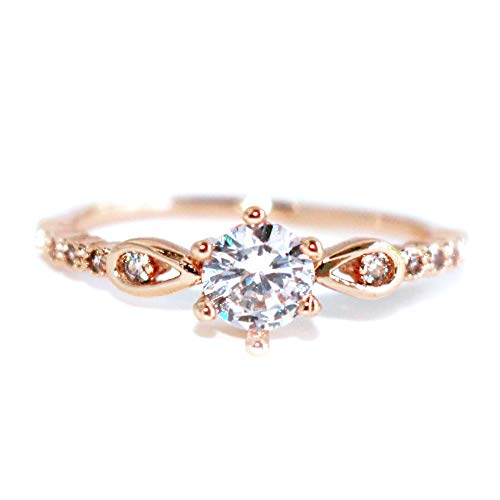 Gieschen Jewelers 'Wisteria' 18k Rose Gold-Plated Special Solitaire CZ Ring, Size ()