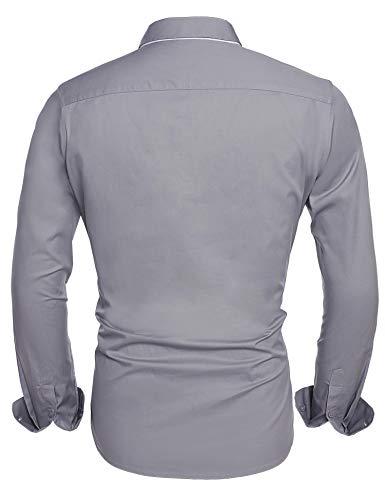 Hombre M Casual 2 Grau Para Camisa Manga Clásico Larga Hotouch OzqYW