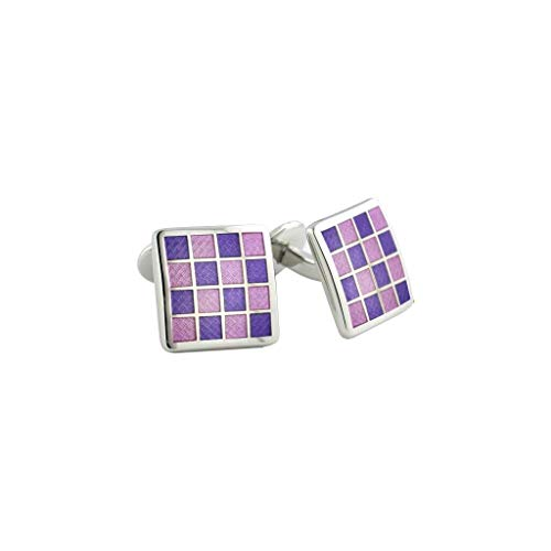 - David Donahue Men's Sterling Silver Purple Checkerboard Cufflinks (CL020502)
