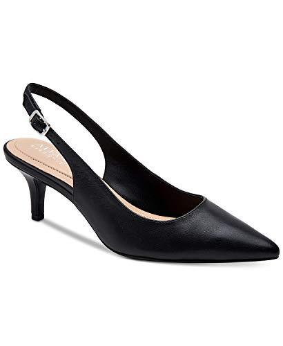 Alfani Womens Slingback - Alfani Womens Babbsy2 Leather Pointed Toe Slingback, Black Leather, Size 7.0