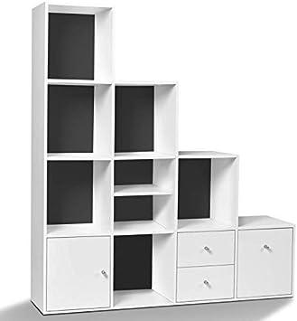 IDMarket – Mueble de almacenamiento escalera 4 niveles madera blanco fondo gris con puerta y cajones: Amazon.es: Bricolaje y herramientas