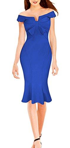 Dress Celebrity Blue Cocktail Bowknot Bodycon Women LECHEERS Streth Elegant wSv0Ynf