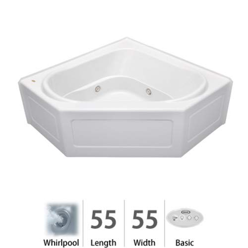 Jacuzzi Corner Tub - Jacuzzi CPS5555WCR2XXW Capella x 55in Three Wall Alcove Corner Comfort Whirlpool Bathtub, White