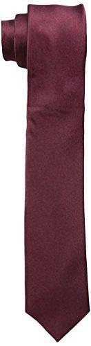 (Original Penguin Men's Solid Satin Super Slim Tie, Burgundy, One Size)