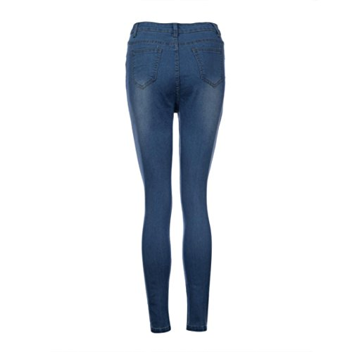 Ladies Ladies Sexy Denim Slim Trouser Jeans Ripped Womens Pocket Pencil Pants Blue Faded Skinny Fitted Sixcup Hole 5E0zwqW