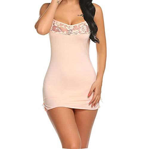 I Need-You Women Sexy Babydoll Mini Sleepwear Strappy Erotic Sleep Dress with Sexy G-String Underwear Plus Size,Apricot,XL -