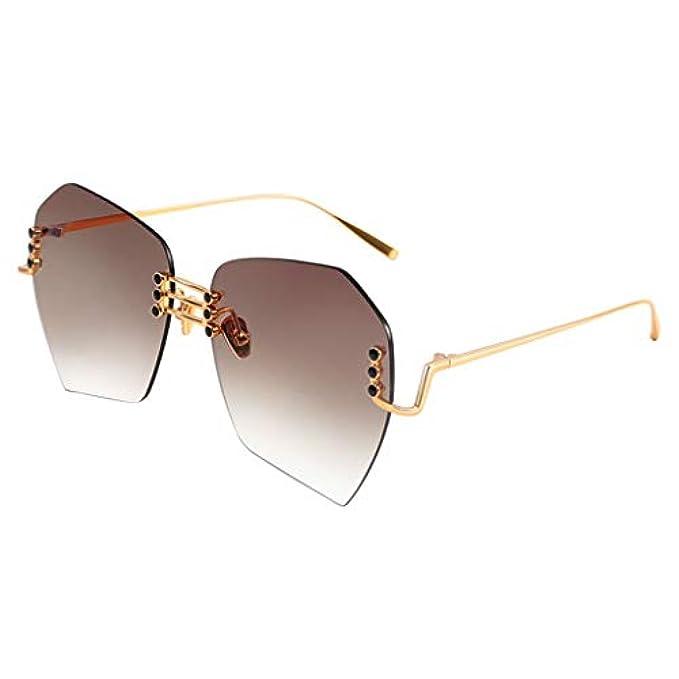 Dimensioni Ladies Zxw Tide Frame Sole Light Lens Sole- Borderless Size Fashion Brown Da Metal Large Nylon Occhiali One